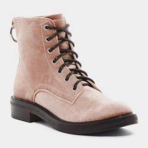 Dolce Vita 7 Bardot Velvet Combat Boot Rose Pink